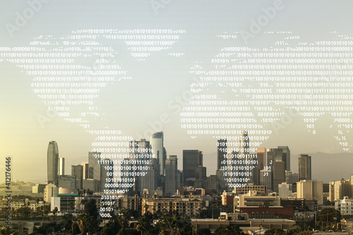 Photo Multi exposure of abstract creative digital world map hologram on Los Angeles sk