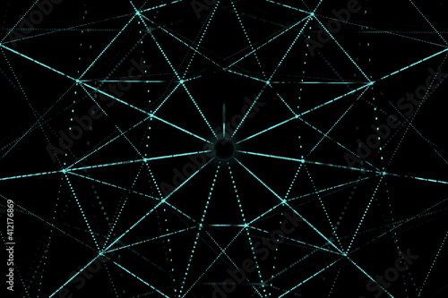 Abstract digital interface with glowing signs, polygonal forms and lights. 3D rendering.