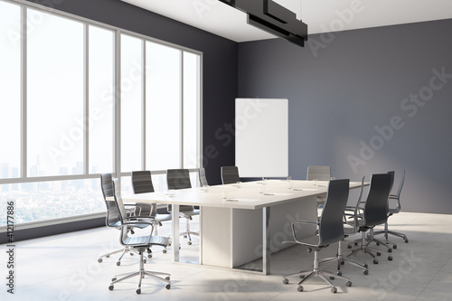 Blank white poster on the corner of modern sunny business meeting room with wooden table, marble floor and huge window with city view. Mockup. 3D rendering