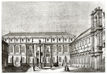 Elegant Facade And Courtyard Of Ecole Des Beaux-Arts Building, Paris. Ancient Grey Tone Etching Style Art By Andrew, Best And Leloir, Magasin Pittoresque, 1838