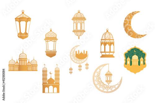 Photo ramadan kareen celebration bundle golden set icons