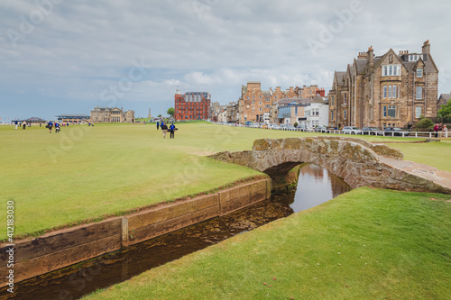 Canvas Print A view of Swilcan Bridge at the 18th hole of the historic Old Course at St
