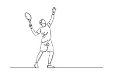 Continuous Line Drawing Of Man Playing Tennis Tournament. Single One Line Art Of Sport And Healthy Lifestyle. Vector Illustration