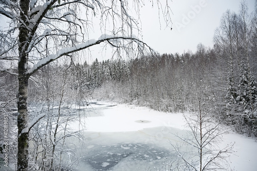 Winter nature landscape with a frozen river in the snow covered forest © Alexey Kuznetsov