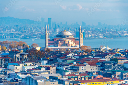 Fototapeta Hagia Sophia view from Suleymaniye Mosque in Istanbul