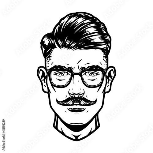 Handsome man head in glasses © DGIM studio