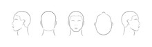 Set Of Human Head Icons. Lined Male Head In Different Angles Isolated On White Background. Vector Illustration