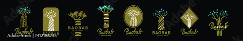 set of baobab or african tree cartoon icon design template with various models Fototapete