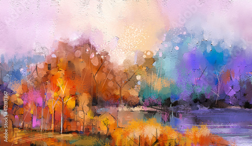 Fototapety, obrazy: Abstract oil painting colorful image of forest, trees with yellow, red leaf and lake with oil, acrylic paint on canvas texture. Fall, autumn season nature background. Impressionist, outdoor landscape