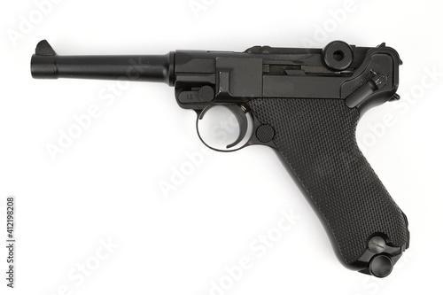 Fotografija Replica parabellum pistol isolated on white background