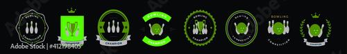 Fotografija set of bowling logo cartoon icon design template with various models