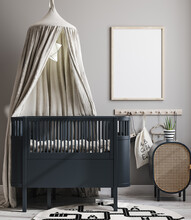 Mock Up Frame In Cozy Nursery Interior Background, Scandinavian Style, 3D Render