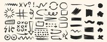Various Hand Drawn Arrows And Shapes, Black Sketchy Lines, Curves, Doodle Direction Pointers Brush Stroke Style. Abstract Vector Set