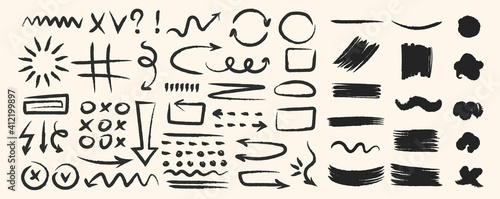 Obraz Various hand drawn arrows and shapes, black sketchy lines, curves, doodle direction pointers brush stroke style. Abstract vector set - fototapety do salonu