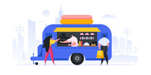 People Buying Hot Dogs From Food Truck