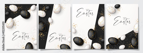 Fotografie, Tablou Set of Happy Easter holiday posters