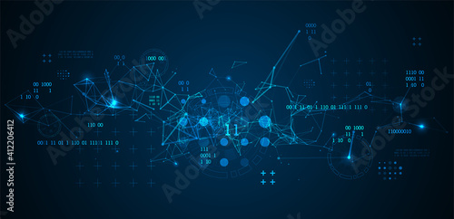 Technology background with plexus effect Wallpaper Mural