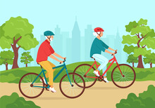 Active Senior Gray-haired Man And Woman Ride Bicycles In Helmets In The City Park. Healthy Lifestyle Concept For Elderly, Outdoor Activities In Retirement. Happy Mature Family.Cute Vector Illustration