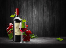 Bottle And A Transparent Glass Of Red Wine And A Branch Of Red Grapes. High Detailed Realistic Illustration.