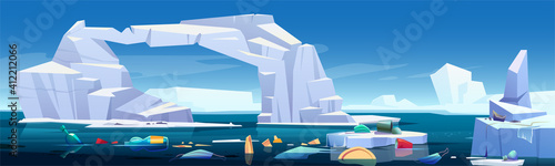 Fotografering Arctic landscape with melting iceberg and plastic garbage floating in sea