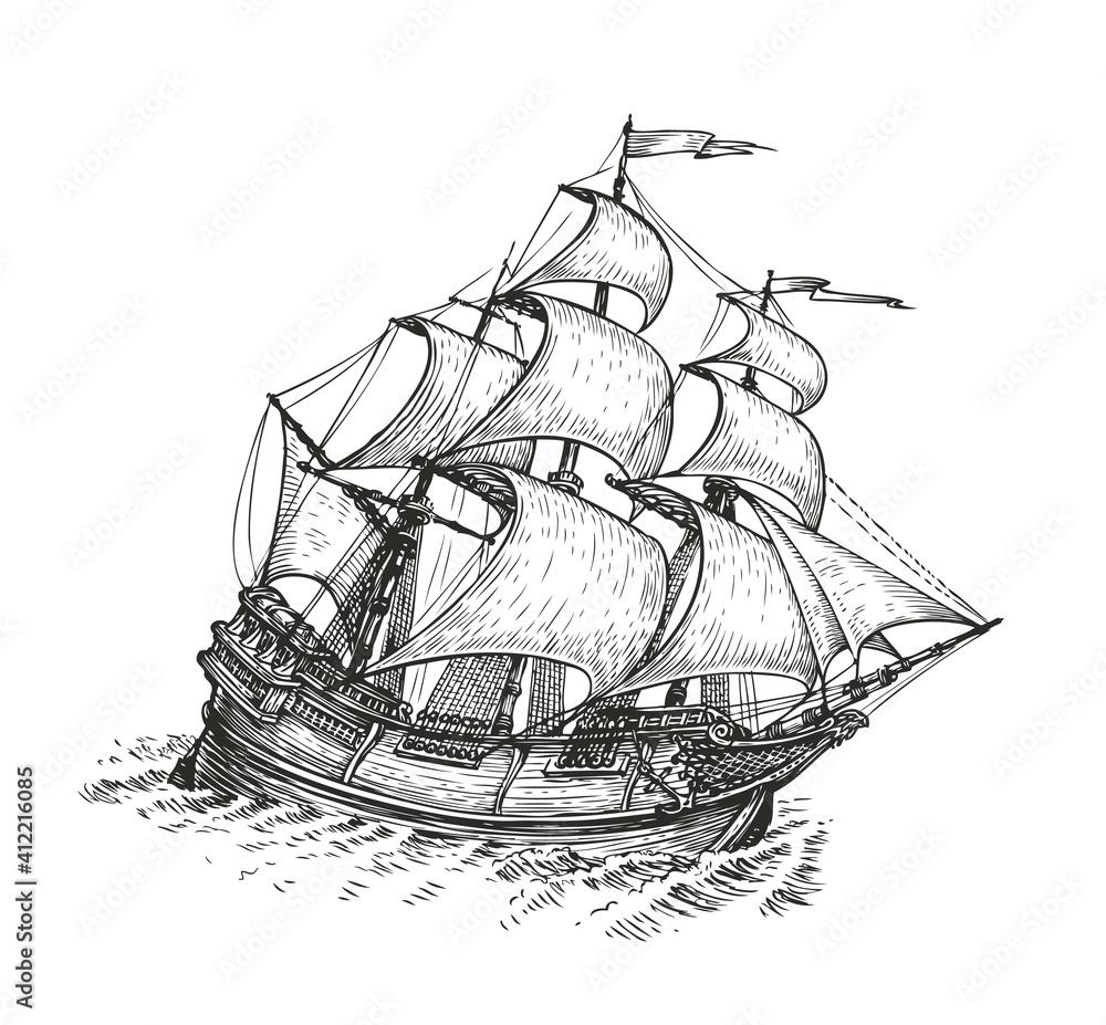 Fototapeta Ship drawn sketch. Vintage vector illustration isolated on white background