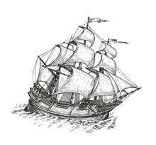 Ship Drawn Sketch. Vintage Vector Illustration Isolated On White Background