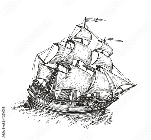 Fototapeta Ship drawn sketch. Vintage vector illustration isolated on white background obraz