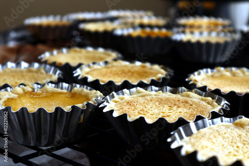 Fototapeta Photo Of Freshly Baked Egg Tarts
