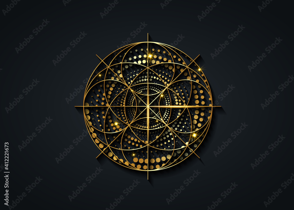 Fototapeta Sacred Geometry gold symbol, Seed of life sign. Geometric mystic luxury mandala of alchemy esoteric Flower of Life. Golden dotted circles vector divine meditative amulet isolated on black background