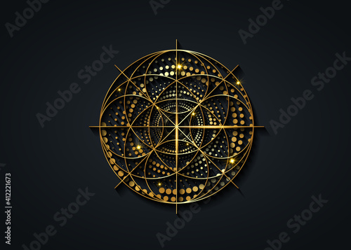 Wallpaper Mural Sacred Geometry gold symbol, Seed of life sign