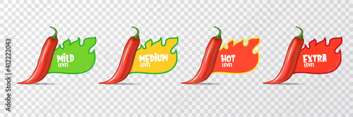 Fotografia Spicy hot red chili pepper icons set with flame and rating of spicy