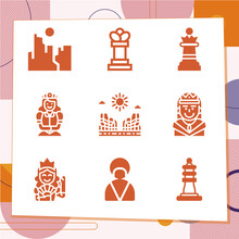 Simple Set Of 9 Icons Related To Duchess