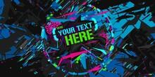 Dark Cyberpunk Neon Abstract Graffiti Style Banner Vector Illustration Art