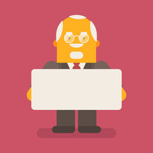 Old Businessman Holding Blank Sign And Smiling. Vector Character