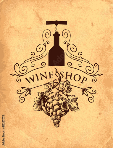 Vector banner or label for wine shop with curlicues, grape, bottle and corkscrew in retro style on an old paper background. Hand-drawn illustration with vintage drawing and inscription © paseven