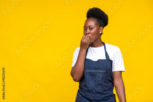 Canvas Print portrait of an african chef tasting something