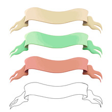 Old Ribbons Or Banners Set Isolated On White. Vintage Horizontal Scrolls. Cartoon Flags, Tapes Vector Illustration. Medieval History, Chivalry And Wisdom Theme. Empty Decorative Sign For Game Design.