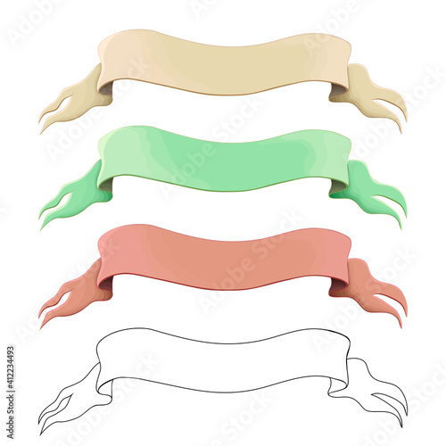 Carta da parati old ribbons or banners set isolated on white