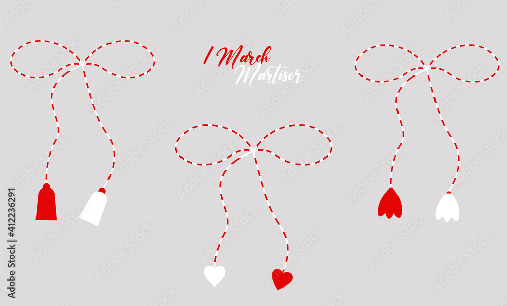 Fototapeta Martisor red and white, cute set isolated, 1 March, spring, march banner, season decoration, traditional, nice design, love, gift, vector illustration