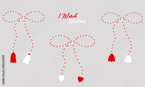 Obraz Martisor red and white, cute set isolated, 1 March, spring, march banner, season decoration, traditional, nice design, love, gift, vector illustration - fototapety do salonu