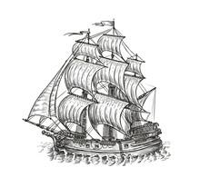 Vintage Wooden Ship With Sails. Navigation Sketch Vector Illustration