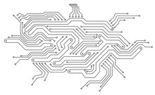 Electronics Board. Circuit Board Electronic Hi Tech Pattern. Vector Abstract Computer Chip. Black Monochrome Background