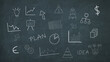 business and financial scribbles on a chalkboard, charts, diagrams and other symbols