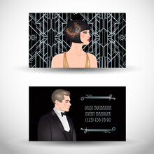 Art Deco Vintage Invitation Template Design With Illustration Of Flapper Girl. Patterns And Frames. Retro Party Background Set 1920s Style. Vector For Glamour Event, Thematic Wedding Or Jazz Party.