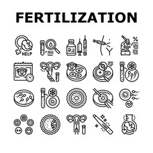 Fertilization Treat Collection Icons Set Vector. Fertilization Help And Consultation, Analysis And Medicaments, Ovulation And Freezing Sperm Black Contour Illustrations