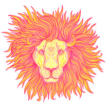 Patterned Ornate Lion Head. African, Indian, Totem, Tattoo, Sticker Design. Design Of T-shirt, Bag, Postcard And Posters. Vector Isolated Illustration In Bright Neon Colors. Zodiac Sign Leo.