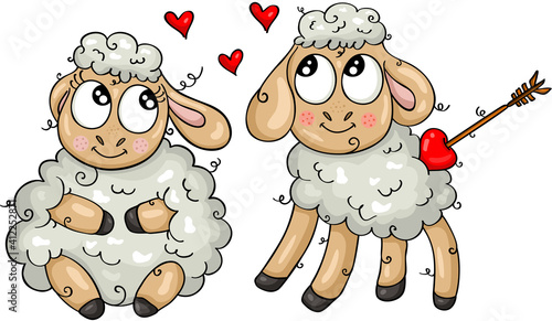 Two cute sheeps in love #412252871