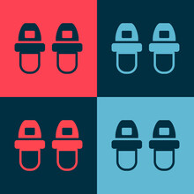 Pop Art Hotel Slippers Icon Isolated On Color Background. Flip Flops Sign. Vector.