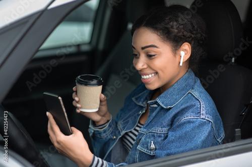 Fototapeta Break while driving and video call from travel obraz