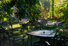 Garden Chairs And Table Metal Openwork Forged In The Summer Garden